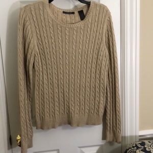 Sparkly gold cabled crew neck sweater -XL